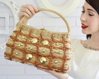 Vintage 1960s Vinyl and Wicker Handbag with Metal Accents Made in British Hong Kong