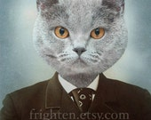 Cat in Clothes Art, Gray Cat, Animal in Clothes, Cat in Suit, 8x10 Print, Anthropomorphic, Animal Wall Decor, Cat Photography