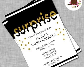 Surprise Birthday Party Invitations, Surprise Birthday Invitations, Surprise Birthday Party, 50th Birthday Invites, 30th Birthday Invites