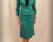 Green Suit * Wiggle Skirt * 90s Michelle Stuart Petites * Green Tweed Suit * Mod Suit *Mad Men * Small