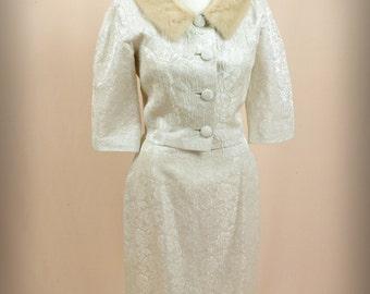 60s Suit * Jackie O Suit * 1960s Suit * Cream Suit * Brocade Suit * Wiggle Skirt * Fur Collar Jacket * Mad Men