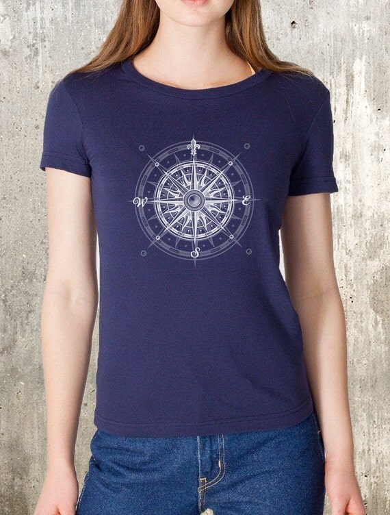 Nautical Compass Women's T-Shirt - American Apparel Screen Printed Women's Tee - Women's Small Through XXL Available