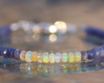 GENUINE Tanzanite & Welo Opal Gemstone Bracelet,Gemstone Stacking Bracelet,Ethiopian Opal,Birthstone,Sterling Silver Stacking Bracelet,Gift