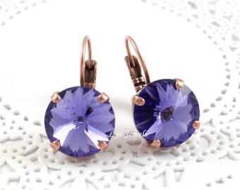Purple Tanzanite Earrings, Swarovski Crystal 12mm Nickel Free Antique Copper Earrings, December Birthstone Earrings, Purple Violet Earrings