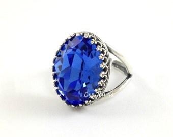 Sapphire Ring - Large Oval Dark Blue Swarovski Crystal Statement Cocktail Ring Antique Silver Adjustable Band Size September Birthstone Ring