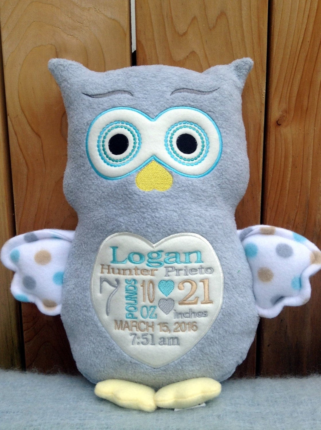 Baby gift embroidered monogrammed owl made in usa