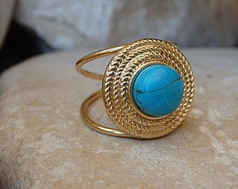 Rounded Turquoise Ring, Turquoise Stone Ring, Gemstone Ring for Women, 14K Goldfilled Ring, Gold Turquoise Ring, Women's Turquoise Ring
