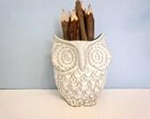 Vintage Counterpoint white ceramic owl, owl pencil holder, planter, San Fransisco