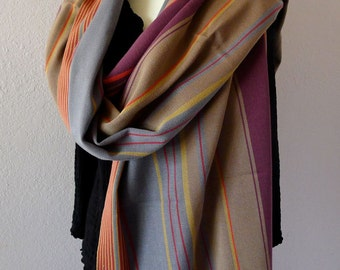 "Chiapas Handwoven cotton scarf narrow shawl wrap orange beige wine elegant  28"" x 80"" + fringe"