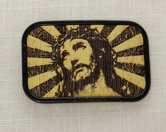 Vintage Jesus Belt Buckle Metallic Gold Wood Christian Catholic | Mens Womens Unisex BB13