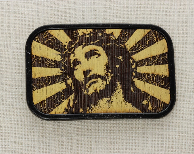 Vintage Jesus Belt Buckle Metallic Gold Wood Christian Catholic | Mens Womens Unisex BB13