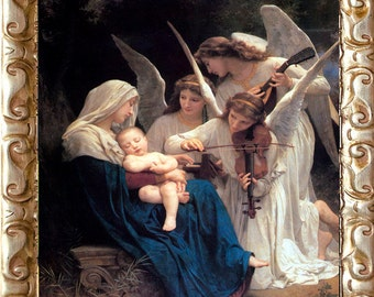 The Song of the Angels, Framed, Art Print on Canvas, William Bouguereau Art
