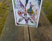Birthday Card, PARTY HAT, Fairies, Whimsical Birthday Card, Fantasy Art, Enchantment, Mixed Media Card, Collage,by Seattle Artist Mary Klump