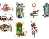 """Large Stickers (each sticker 2.5""""x3.5"""", pack 8 stickers) Scrapbooking Craft Vintage # Sleighs, Candles and Carolling FLONZ 139"""