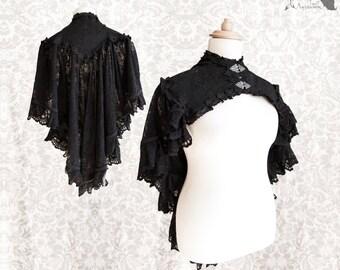 Black capelet, Victorian gothic shrug, Steampunk, Vespertilio, Somnia Romantica, size approx XL 2XL 3XL, see item details for measurements