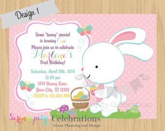 Easter Birthday Invitation, Egg Hunt Invite, Easter Birthday, Bunny Invitation, Easter Chicks, Holiday, Easter, Printed Invitation,
