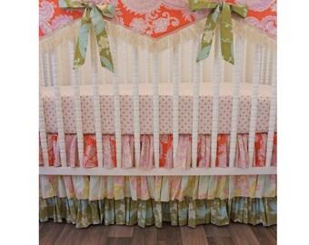 READY to SHIP BUMPERLESS Crib Bedding- Girl Baby Bedding--Girl Nursery Bedding
