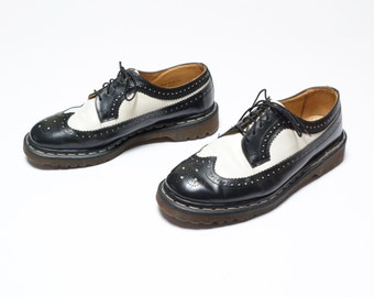 vintage 90s Doc Martens shoes black and white spectator wingtip oxford creeper rockabilly Dr. Martens brogue shoes mens UK 9 US 10