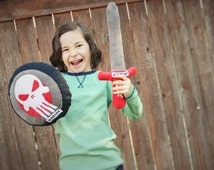 Punisher Skull Sword and Shield Toddler pillow toy,Punisher Personalized Pillow shield and sword,Costume, Toddler Pillow fight toy weapons