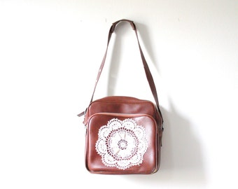 Vintage brown lace doily bag // up-cycled purse // boho overnight bag // luggage bag // lace crochet luggage bag // large brown travel bag