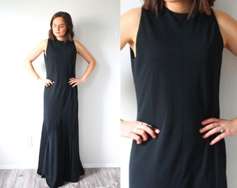 Vintage black maxi evening gown // formal evening dress // gown // ball gown // little black dress // black prom dress // fancy black maxi
