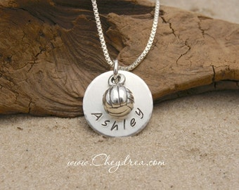 Volleyball Player Necklace, VOLLEYBALL Player Gift, Volleyball Jewelry, Fine Silver and Sterling Silver Volleyball Necklace, Fast Shipping