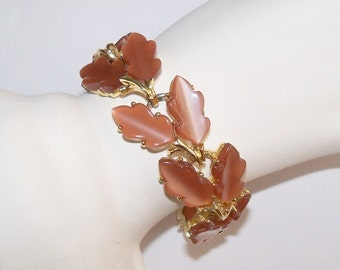 Vintage Bracelet Leaves Brown Mocha Thermoset Signed Lisner Fall Wedding Jewelry Jewellery Gift Guide Women