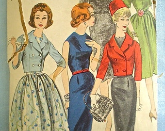 Lovely Sheath Dress and Cropped Jacket Pattern 1950s-1960s Vogue 5088 Bust 32
