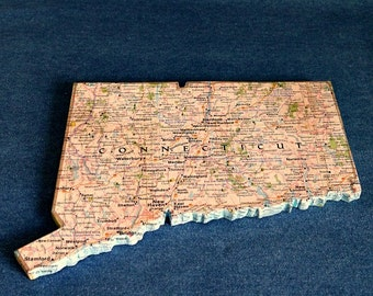 CONNECTICUT State Map Wall Decor | Vintage National Geographic State Map | Perfect Gift for Any Occasion | Gallery Wall | Mini Size