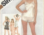 80s Womens Lingerie Slips, Camisole or Teddy, Tap Pants Simplicity Sewing Pattern 9859 Size 10 Bust 32 1/2 UnCut Vintage Lingerie Patterns