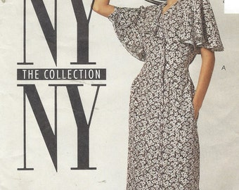 90s NY NY the Collection Womens Dress Side Buttoned Flutter Sleeves McCalls Sewing Pattern 5944 Size 14 Bust 36 UnCut Sewing Patterns