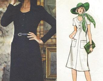 1970s Christian Dior Womens A Line Dress U Neckline Vogue Sewing Pattern 1219 Size 12 Bust 34 Vintage Vogue Paris Original Pattern