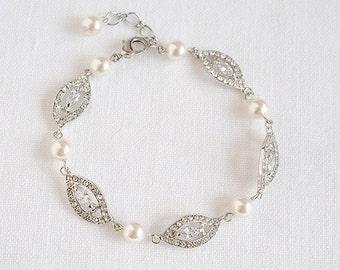 Bridal Bracelet, Wedding Pearl Bracelet, Marquise Crystal Bridal Bracelet, Swarovski Pearl Bracelet, Leaf Filigree Bridal Bracelet,AUGUSTINA