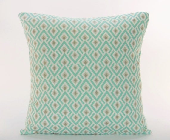 Spa Blue Tan Decorative Throw Pillow Cover ALL by SeamsToMe23