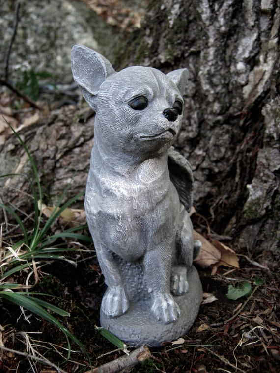 Chihuahua Dog Angel White Gray Concrete Garden Statue