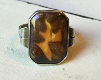 Vintage Sterling Silver Enamel Ring. Enamel Swirl Ring. Statement Ring. Brown & Gold Enamel Ring. Sterling Enamel Ring - Size 8.75