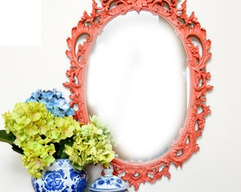 Hollywood Regency Vintage peach coral pink mirror: ornate peach pink mirror vintage home decor