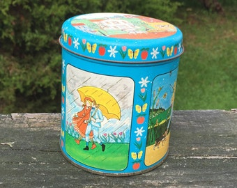 Collectible Tin Fall Summer Spring Winter Blue Tin