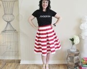 Red stripe Pleated Full Hartley skirt Knee Length, Midi or Maxi also available in Plus size