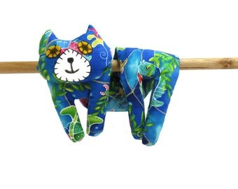Flat Cat, Hot Cold Rice Bag, Microwave Neck Wrap, Rice Heating Pad, Hot Cold Therapy Pack, Blue Green Pink Yellow Fish #2