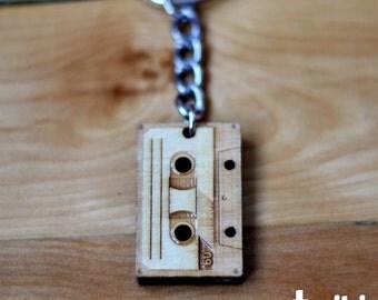Audio Cassette Tape Wood Keychain OR Audio Tape Charm Accessory - Wood audio cassette tape keychain, wood audio tape charm, vintage, retro