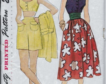 1950s Misses Halter, Top, Shorts, Skirt, Playsuit Simplicity 3239 Size 14, Bust 32 Uncut Vintage Women's Sewing Pattern