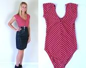 vtg 80s retro RED Chevron STRIPED LEOTARD bodysuit xs/s onesie shirt aerobic nautical top Americana