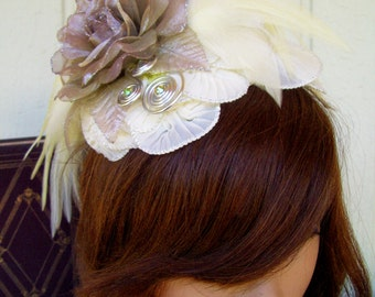 Fascinator (F607) Royal Ascot, Derby Races Hat, Ivory Ruffles, Feathers, Bronze Silver, Organza Roses, Silver Coils, Swarovski Crystals