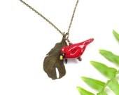 Ceramic Cardinal Pendant / Feather Necklace, Bird Lover Gifts Under 20, Pottery Red Bird Theme Jewelry, Multi Charm Pendant, USA Artisan