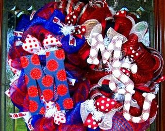 Deco Mesh Mississippi State and Ole Miss House Divided Wreath, deco mesh wreath, wreath, football wreath, MSU wreath