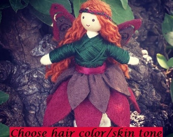 Woodland Flower Fairy Doll - Bendy Doll - Autumn Doll - Fairy Doll - Red Hair - Fall Doll - Nature Table