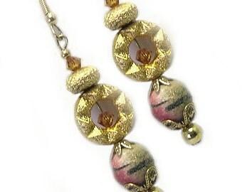 Handmade Unique Colorful Dangle Celestial Earrings, sun moon star earrings, celestial dangle earrings, vintage beads, cosmic dangle earrings
