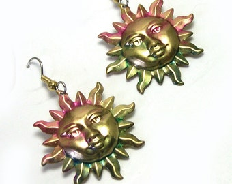 Hand Painted Handmade Colorful Celestial Cosmic Sun Earrings, celestial earrings, cosmic earrings, fantasy earrings, dangle sun, sun dangle
