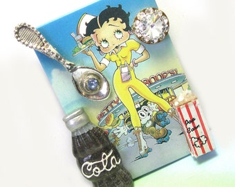 Unique Handmade Upcycled Repurposed Betty Boop Jewelry, Betty Boop brooch, betty boop pin, one of a kind, ooak, original, colorful, fun